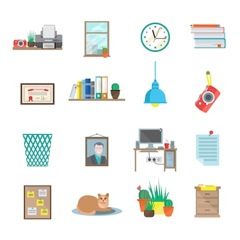 Workplace room icons set