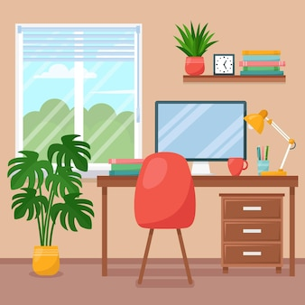 Workplace room, interior of work cabinet at home, vector illustration