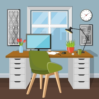 Workplace in room with window
