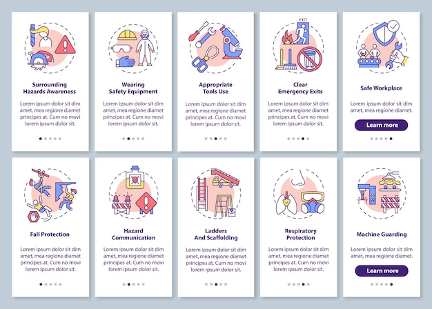 Workplace safety onboarding mobile app page screen with concepts