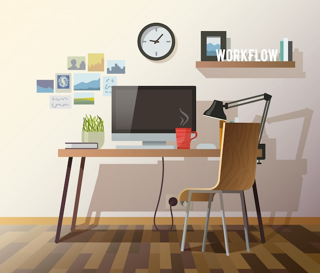 Workplace in sunny room.
