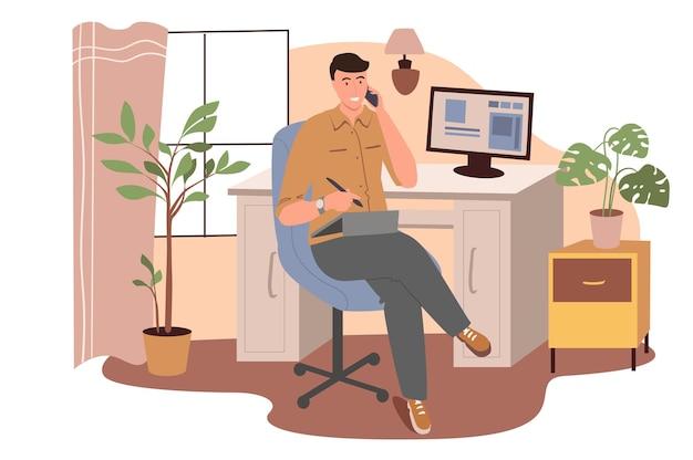 Веб-концепция на рабочем месте. человек работает на графическом планшете и звонит