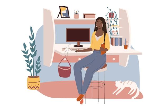 직장 웹 개념. 여자는 컴퓨터와 책상에 앉아 원격으로 작동합니다. 프리랜서는 고양이와 함께 아늑한 방에서 집에서 일합니다. 프리미엄 벡터