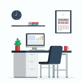 コンピューター、時計、ポスターのある職場「締め切りを忘れないでください」デスク、ホームオフィス用のコーヒーと植物。