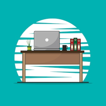 Workplace with laptops illustration.