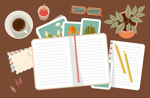 Workplace with a personal diary. personal planning and organization