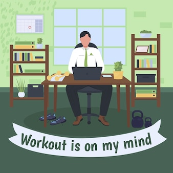 Workplace workout social media post mockup. workout is on my mind phrase. web banner design template. healthy lifestyle booster, content layout with inscription.