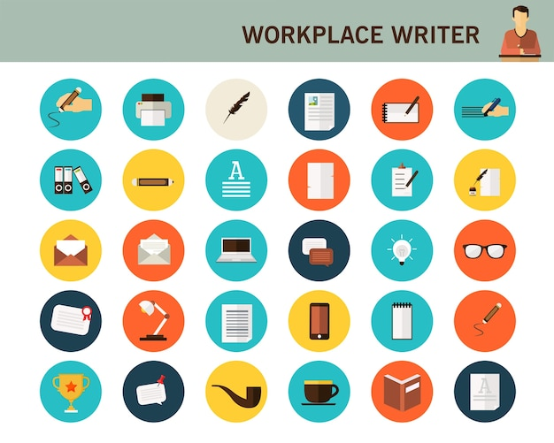 Workplace writer concept flat icons.
