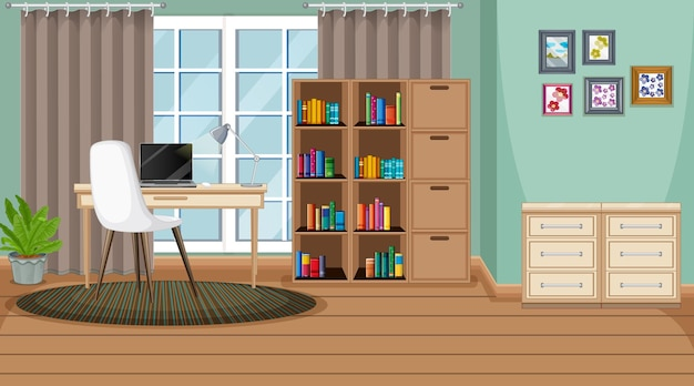 Сцена в мастерской с ноутбуком на столе