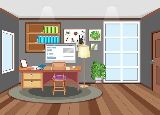 テーブルの上にコンピューターがある作業室のシーン