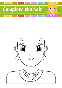 Worksheet complete the picture. draw hair. cheerful character. vector illustration. pretty girl.