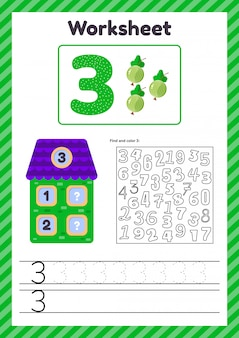 Worksheet count for kids. berry. house. number bonds. trace line. the study of mathematics for children of kindergarten, preschool age. three. 3