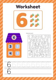 Worksheet count for kids. house. number bonds. trace line. the study of mathematics for children of kindergarten, preschool age. six. 6.
