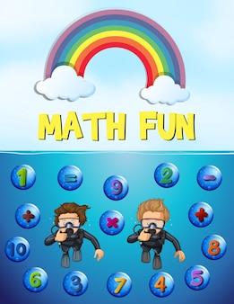 Worksheet design for math with underwater background