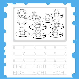 Рабочий лист обучения номер практики письма и раскраска для восьмилетнего ребенка Premium векторы