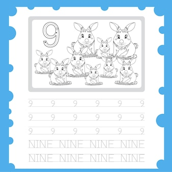 Worksheet education writing practice number and coloring for kid nine