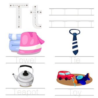 Worksheet for children tフォントのイラストレーター