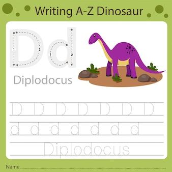 Рабочий лист для детей, написание аз динозавра d