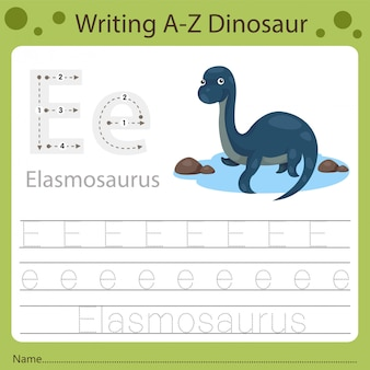 Рабочий лист для детей, написание аз динозавра e
