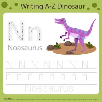 Рабочий лист для детей, написание аз динозавра n