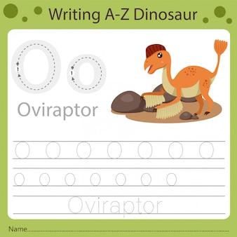 Рабочий лист для детей, написание аз динозавра o