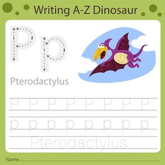 Рабочий лист для детей, написание аз динозавра p