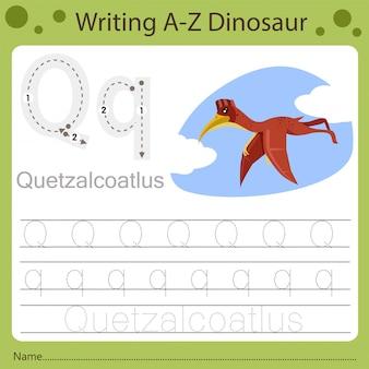 Рабочий лист для детей, написание аз динозавра q