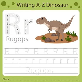 Рабочий лист для детей, написание аз динозавра r