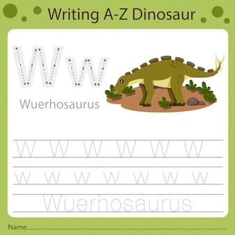 Рабочий лист для детей, написание аз динозавра w