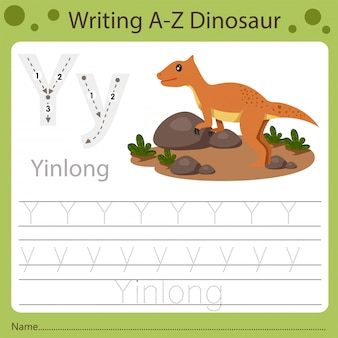 Рабочий лист для детей, написание аз динозавра y