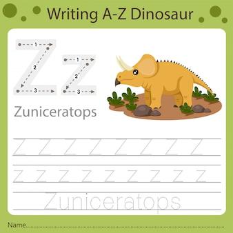 Рабочий лист для детей, написание аз динозавра z