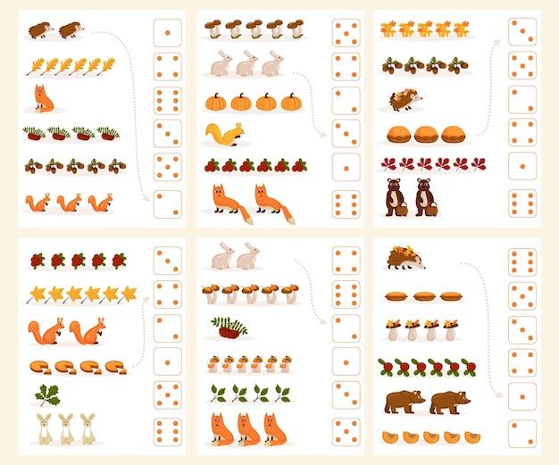 Рабочий лист для обучения математике и счету на тему осени. для дошкольников и дошкольников, изучающих числа и счет. векторная иллюстрация