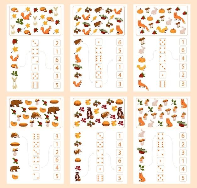 가을 주제에 대한 수학 및 수리 교육용 워크시트. 숫자와 계산을 공부하는 미취학 아동 및 유치원 아동을 위한 것입니다. 벡터 일러스트 레이 션