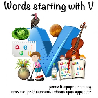 Рабочий лист для слов, начинающихся с v