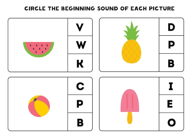 Worksheet for kids. find the beginning sound of cute summer elements.