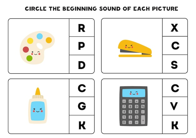 Worksheet for kids. find the beginning sound. school supplies.