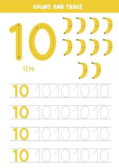 Worksheet for kids. seven cute cartoon bananas. tracing number 10.
