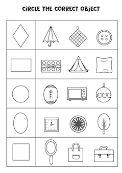 Worksheet for learning geometrical shapes. matching objects.