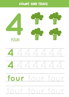 Worksheet for learning numbers and letters with cartoon broccoli. number four.