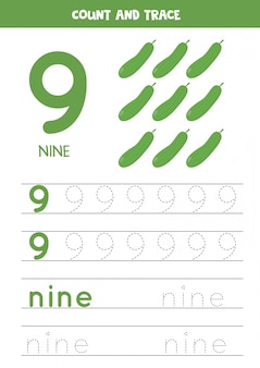 Worksheet for learning numbers and letters with cartoon cucumbers. number nine.