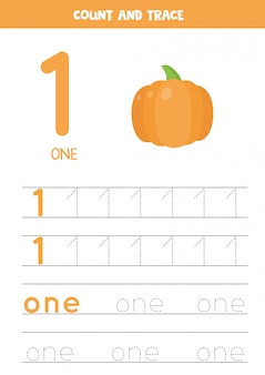 Worksheet for learning numbers and letters with cartoon pumpkin. number one.