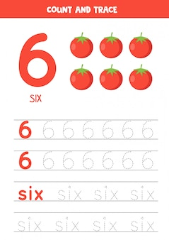 Worksheet for learning numbers and letters with cartoon tomatoes. number six.