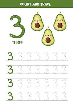 Worksheet for learning numbers with cute kawaii avocados. number three.