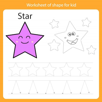 Рабочий лист фигуры для малыша-звезды