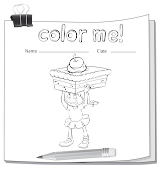 A worksheet showing a girl carrying a cake