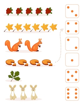 Worksheet for teaching mathematics and numeracy on the topic of autumn. for preschool children and kindergarten children who study numbers and counting. vector illustration