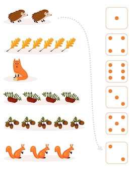 Worksheet for teaching mathematics and numeracy on the topic of autumn. for preschool children and kindergarten children who study numbers and counting.