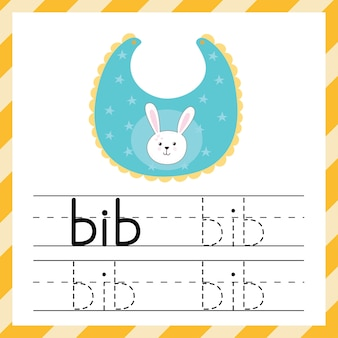 Worksheet for tracing words - bib. learning material for kids. i can write words template. tracing practice sheet. vector illustration