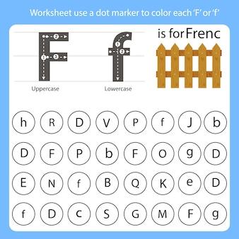 워크 시트는 점 마커를 사용하여 각 f를 색칠합니다.
