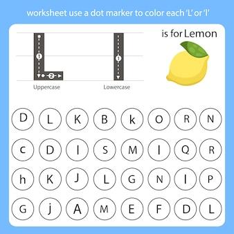 워크 시트는 점 마커를 사용하여 각 l의 색상을 지정합니다.